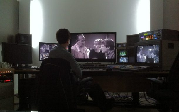 Jonathan Wood grading DVD extras for Doctor Who The Underwater Menace